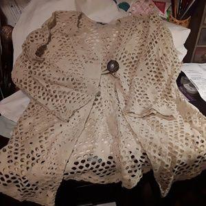 Tan Open Work Net Shrug- cover up